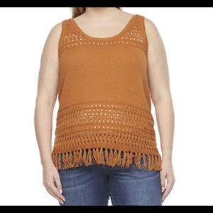 a.n.a. Scoop Neck Sweater Tank Top Fringe Rust Brown 3x plus size